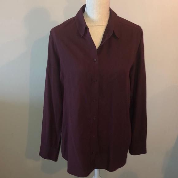 Uniqlo Tops - Uniqlo rayon burton up blouse in burgundy